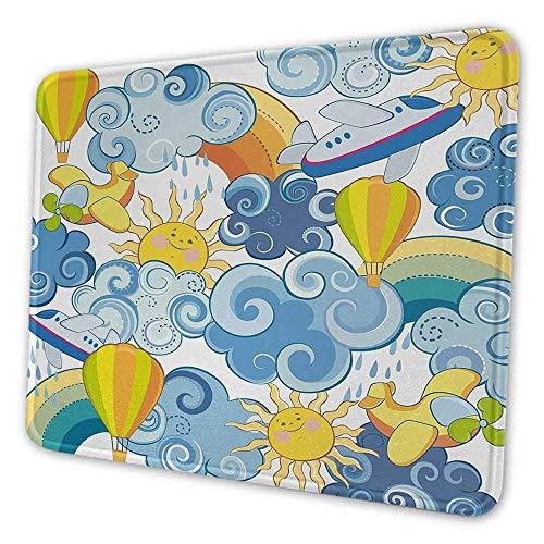 Himmel personalisierte Mauspad Kinderthema Wolken lächelnde Sonne Flugzeuge und Luftballons Illustration drucken Mauspad für Männer Lustiges Gelb und Hellblau