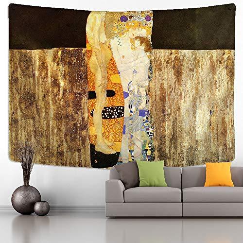 Tapiz de Gustav Klimt, montaje en pared, beso dorado, abstracto Art Deco, hogar, dormitorio, arte, fondo, tapiz de tela a4 150x200cm