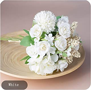 Tamia-Romtic Rose Artificial Silk Flowers for a Wedding Bridal Vintage Vivid Spike Hydrangea DIY Craft Fake Flowers Home Decoration t,White