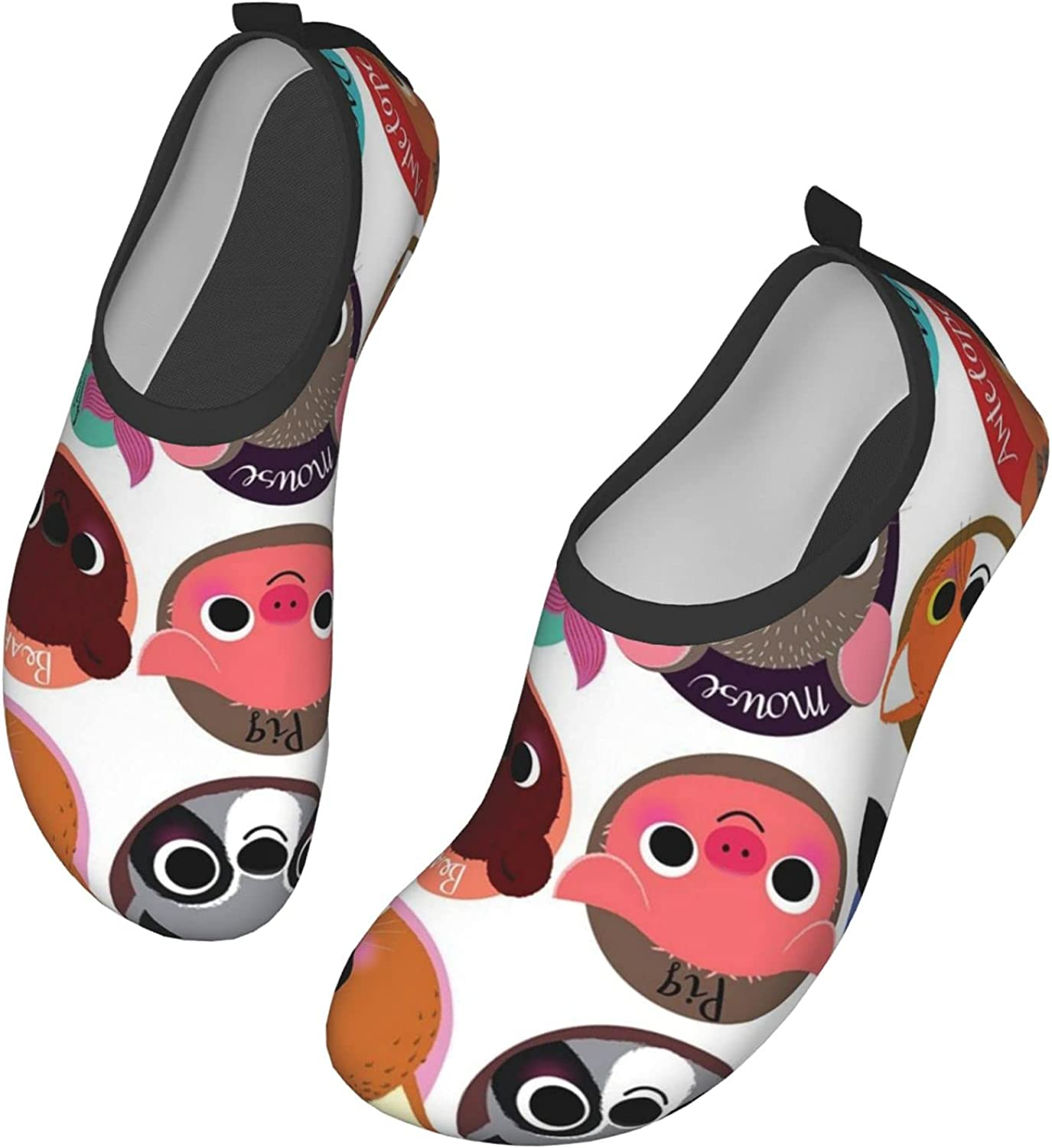 Animals Symbol Collection Water Shoes Women's Men's Outdoor Beach Swimming Aqua Socks Quick-Dry Barefoot Shoes Surfing Yoga Pool Exercise