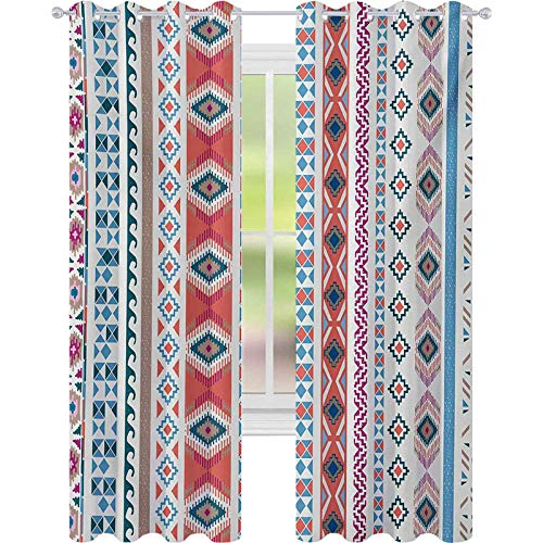 Cortinas opacas, motivos geométricos, diseño de rayas verticales, diseño nativo americano, cortinas de 52 x 108 para habitación de bebé, multicolor