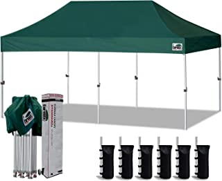 Eurmax 10`x20` Ez Pop Up Canopy Tent Commercial Instant Canopies with Heavy Duty Roller Bag,Bonus 6 Sand Weights Bags (Forest Green)