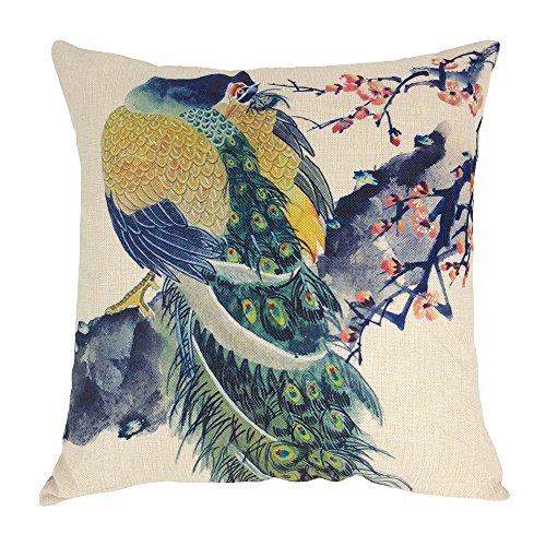 coolsummer New Fashion Fancy Vivid paon en lin/coton couvre-lit décoratif carré taie d'oreiller housse de coussin 45,7 x 45,7 cm
