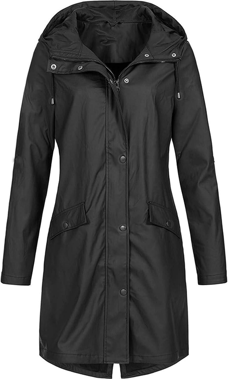 Rain Coats for Women Waterproof Lightweight Hooded Jackets Solid Zip Up Casual Long Windbreaker Tops Plus Size Sweatshirts (Large, A1~Black)