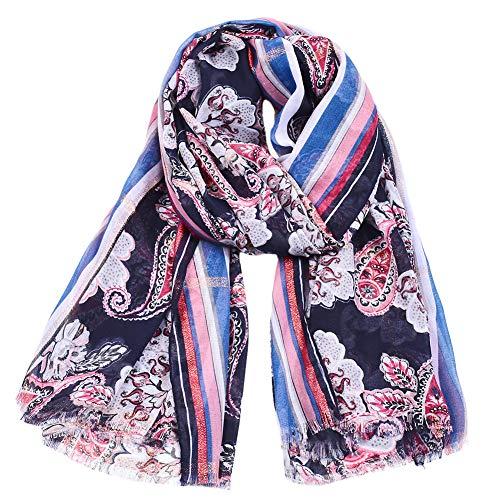 H/A CRCOG Bufanda de Cintura de Seda Dorada Primavera y otoño Sra. Nueva impresión de algodón CRCOG (Color : Navy, Size : 180cm)