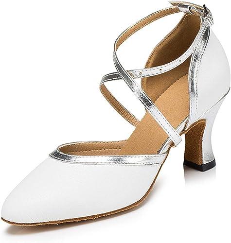 ZHRUI zapatos de Baile de mujer (Color   blanco plata-7cm Heel, tamaño   6 UK)