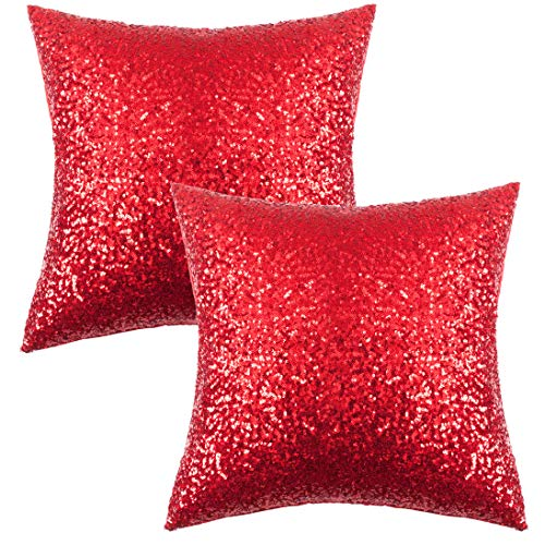 Kevin Textile Wedding Christmas Luxurious Glitter Sequins Home Decorative Square Sparkling Pillowcase Cushion Cover for Party/Xmas, 18'x18'(45cmx45cm), Red, Set of 2