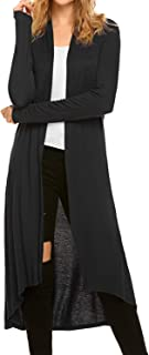 Women`s Casual Long Open Front Drape Lightweight Duster High Low Hem Maxi Long Sleeve Cardigan(S-3XL)