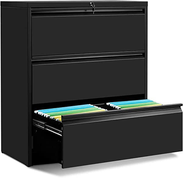 3 Drawers Lateral File Cabinet With Lock Lockable Heavy Duty Filing Cabinet Steel Construction Black Elegant Handle