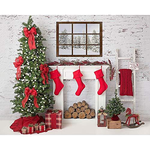 Fondos de Navidad para Fiestas Familiares Árbol de Nieve de Invierno Papá Noel Piso de Madera Fondos para niños Photocall para Estudio fotográfico A10 10x7ft / 3x2.2m