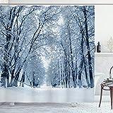 ABAKUHAUS Winter Duschvorhang, Snowy-Bäume im Wald, Set inkl.12 Haken aus Stoff Wasserdicht Bakterie & Schimmel Abweichent, 175 x 240 cm, Hellblau Schwarz weiß
