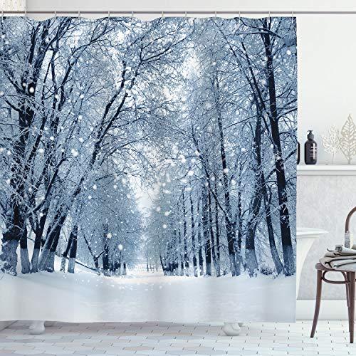ABAKUHAUS Winter Duschvorhang, Snowy-Bäume im Wald, Set inkl.12 Haken aus Stoff Wasserdicht Bakterie & Schimmel Abweichent, 175 x 200 cm, Hellblau Schwarz weiß