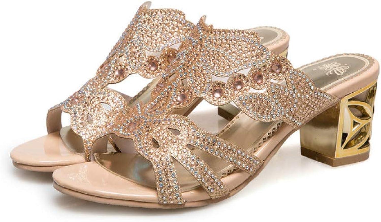 AERICKON Gorgeous Women Bling-Full Shiny Heeled Sandal Comfy PU Lining Non-Skid Sole Slip On Party Dress shoes