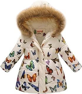 Girl's Water-Resistant Hooded Kids Toddler Winter Flower Print Parka Outwear Warm Cotton Coat Hooded Jacket