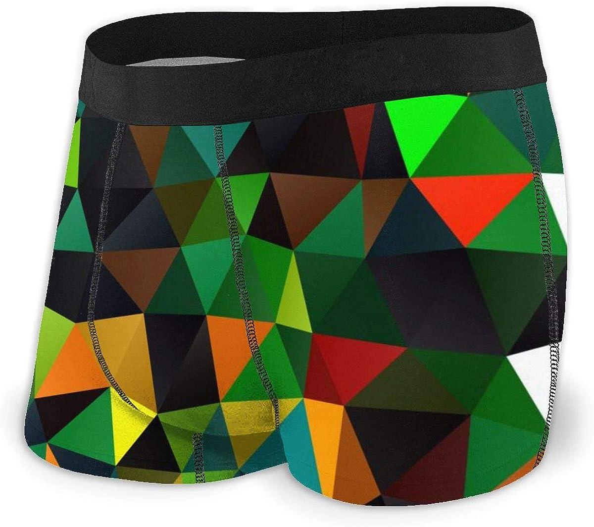 Mens Boxer Briefs Elegant Rainbow Mosaic Multicolor Breathable Underwear