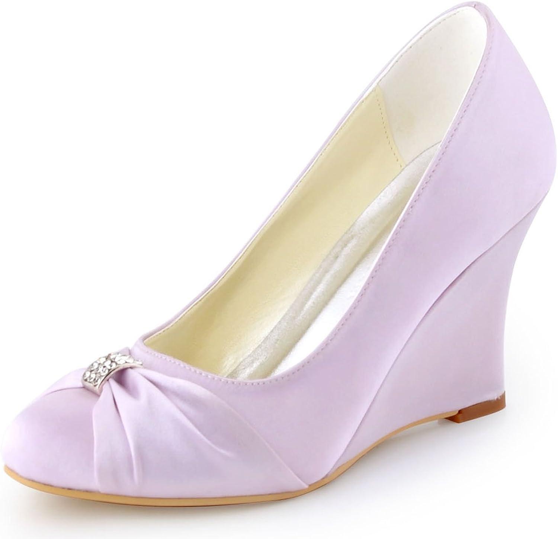 ElegantPark EP2005 Evening Party shoes Wedge High Heel Pumps Round Toe Satin Rhinestones Wedding shoes