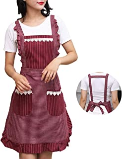 NA Princess Apron for Women with Pockets, Comfortable Kitchen Apron, Perfect for Cafe Shop, Baking, Gardening, Cooking, Red