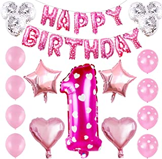 NUOBESTY 32Pcs Happy Birthday Balloons Aluminum Foil Balloons For 1 Year Old Birthday Party Decoration