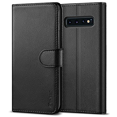 Vakoo Samsung Galaxy S10 Hülle, PU Leder Handyülle Schutzhülle für Samsung Galaxy S10 Wallet Flip Case - Schwarz