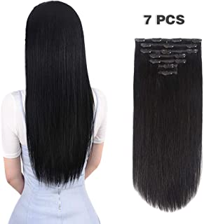 16 inches Clip in hair Extensions Remy Human Hair - 70g 7pcs 16 Clips Straight Thick 100% Real Human Hair Extensions for W...