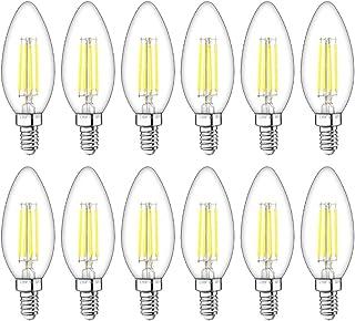 LITAKE E12 LED Candelabra Bulbs Dimmable, Filament Chandelier Light Bulbs 60 Watt Equivalent,Daylight 5000K,600 Lumens,B11 Candle Light Bulbs , 12 Packs
