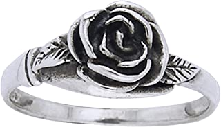 Small Sterling Silver Detailed Rose Flower Ring(Sizes 3,4,5,6,7,8,9,10,11,12,13,14,15)