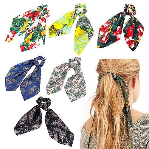 Lazos para el pelo de seda larga, bandas elásticas para el pelo, accesorios para mujeres y niñas, bufanda, coleta