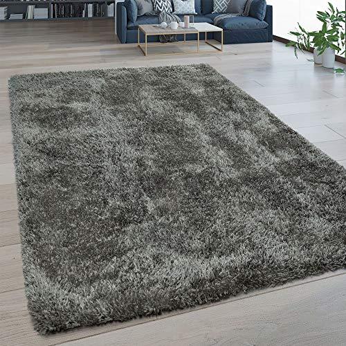 Paco Home Hochflor Wohnzimmer Teppich Waschbar Shaggy Flokati Optik Einfarbig In Grau, Grösse:160x220 cm