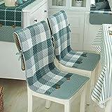 Set da 2 cuscini decorativi per sedie sottili, con seduta e schienale alto, in cotone, antiscivolo, con laccetti e tasche sul retro, per sedie da pranzo, Cotone, Gradient Green Plaid, taglia unica