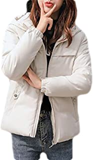 Macondoo Womens Quilted Loose Full-Zipper Winter Short Coat Hoodie Down Jacket