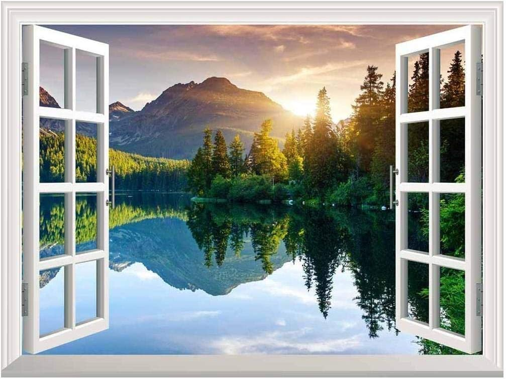 """wall26 A Peaking View Through The Forest of The Morning Sunrise - Wall Mural, Removable Sticker, Home Decor - (36""""x48"""", Lake and Mountains): Home Improvement"""