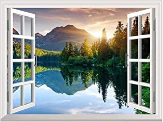 wall26 A Peaking View Through The Forest of The Morning Sunrise - Wall Mural, Removable Sticker, Home Decor - (36