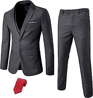 ست کت و شلوار باریک 3 تکه مردانه MY ، شلوار جلیقه جلیقه 2 دکمه ای با کراوات ، لباس عروس جامد تاکس و شلوار