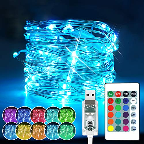 Chipark LED Fairy Lights USB Powered 100 LED RGB 16 Color Changing String Lights with Remote Timer 4 Modes Twinkle Fairy Decorative Silver Wire Lights for Indoor Outdoor Party Wedding Christmas Gifts
