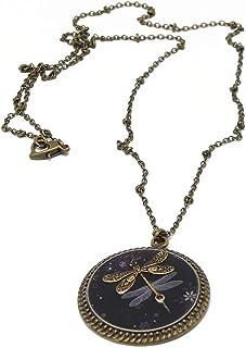 Collana Libellula nero grigio fiori ottone bronzo resina chiusura cuore regali personalizzati Natale amici madre compleann...