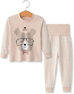 YANWANG 100% Cotone delle Ragazze dei Neonati Pajamas Set Manica Lunga Sleepwear (6M-5Anni)
