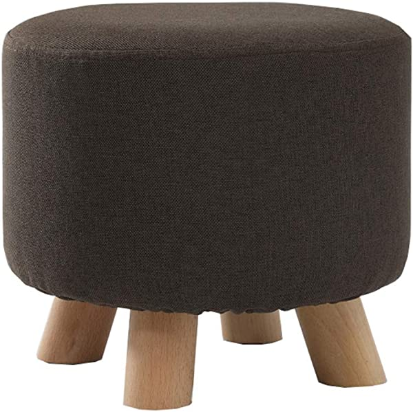 Round Footstool Thick Solid Wood Small Osman Shoe Bench Removable Linen Cover Brown 29cmx25cm