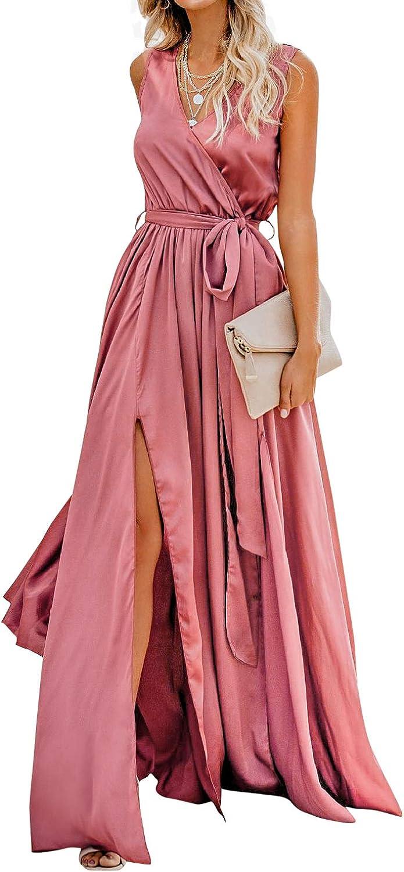 CUPSHE Women's Wrap Slit Hem Satin V Neck Sleeveless Maxi Dress