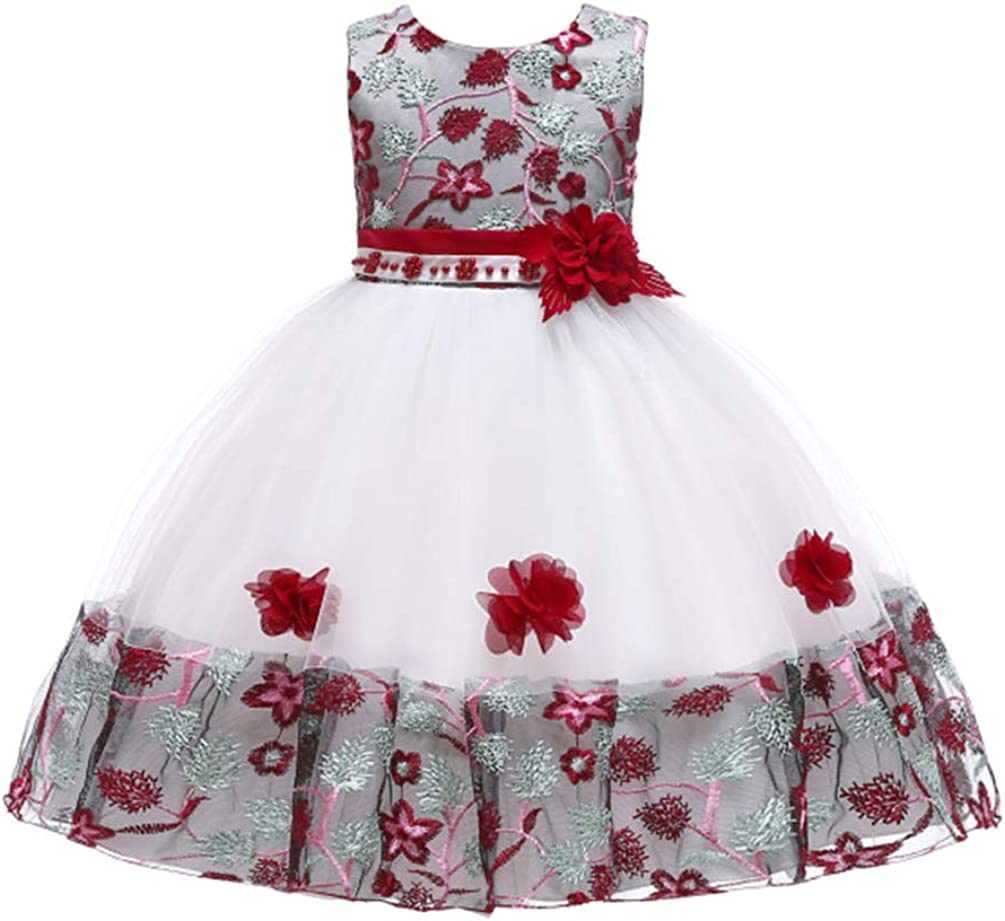 JIANLANPTT Elegant Wedding Bridesmaid Kids Dresses for Girls Tulle Lace Flower Appliques Party Frock Dress 3-4Years White Vintage Red