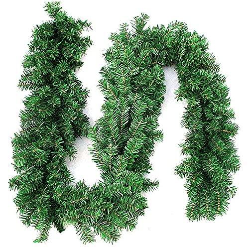 xiaoyu shop Guirnaldas de Navidad para escaleras, chimeneas de jardín, patio, 270 cm, verde artificial guirnalda de Navidad decoración del árbol de Navidad para interiores y exteriores, corona verde
