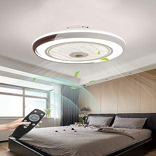 Ventilador de techo LED con niños invisibles luz y remoto control silencioso 60W luz de techo regulable moderna Deckenlamp dormitorio ventilador 50cm, Negro