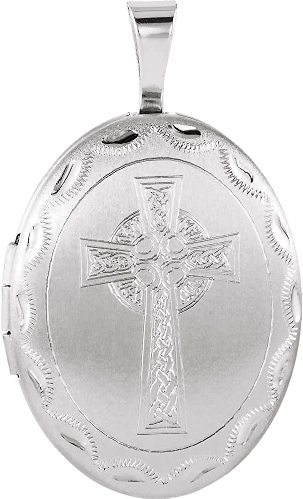 Sterling Silver Sale Special Price Oval Now free shipping Celtic-Inspired Cross Fine Jewelry Locket f