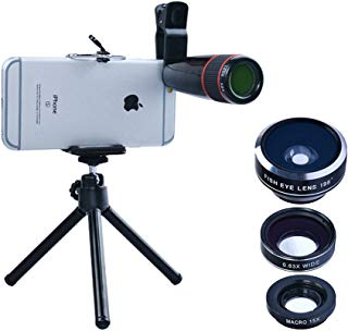 Apexel 4 in 1 Camera Lens 12x Telephoto Lens/Fisheye/Wide Angle + Macro Lens with Universal Clip for iPhone 7/6/6s Plus SE Samsung Galaxy S7/S7 Edge and Most Android Smartphone