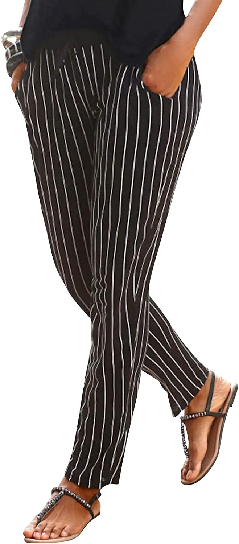 MASZONE Women's Pants Casual Summer Boho Beach Trousers Vintage Print Capri Pants Lightweight Drawstring Sweatpants