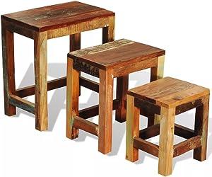 Festnight 3 PCS Nesting Table Vintage Reclaimed Wood Stacking End Side Table
