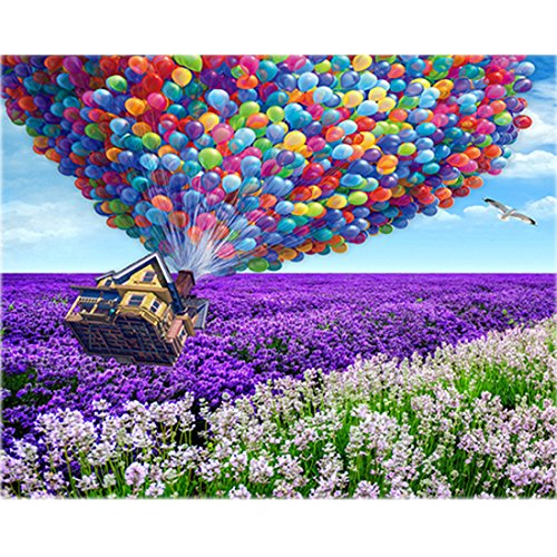 TOCARE 5D Diamond Painting Kits for Adult Kids 30x40cm/12x16Inch Full Drill Dotz Nature Landscape Scenery Home Wall Art Decor, Hot Air Balloon Up House