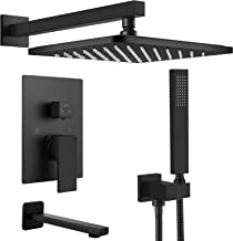 Midanya Matte Black Rain Shower System Wall Mount Triple Function Bathroom Shower Faucet Set with Tub Spout ABS High Press...