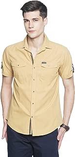 OJASS Men's Solid Casual Beige Shirt ()