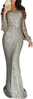 Elapsy Womens Sexy Sequins Tassel Long Sleeve Party Cocktail Bodycon Dress
