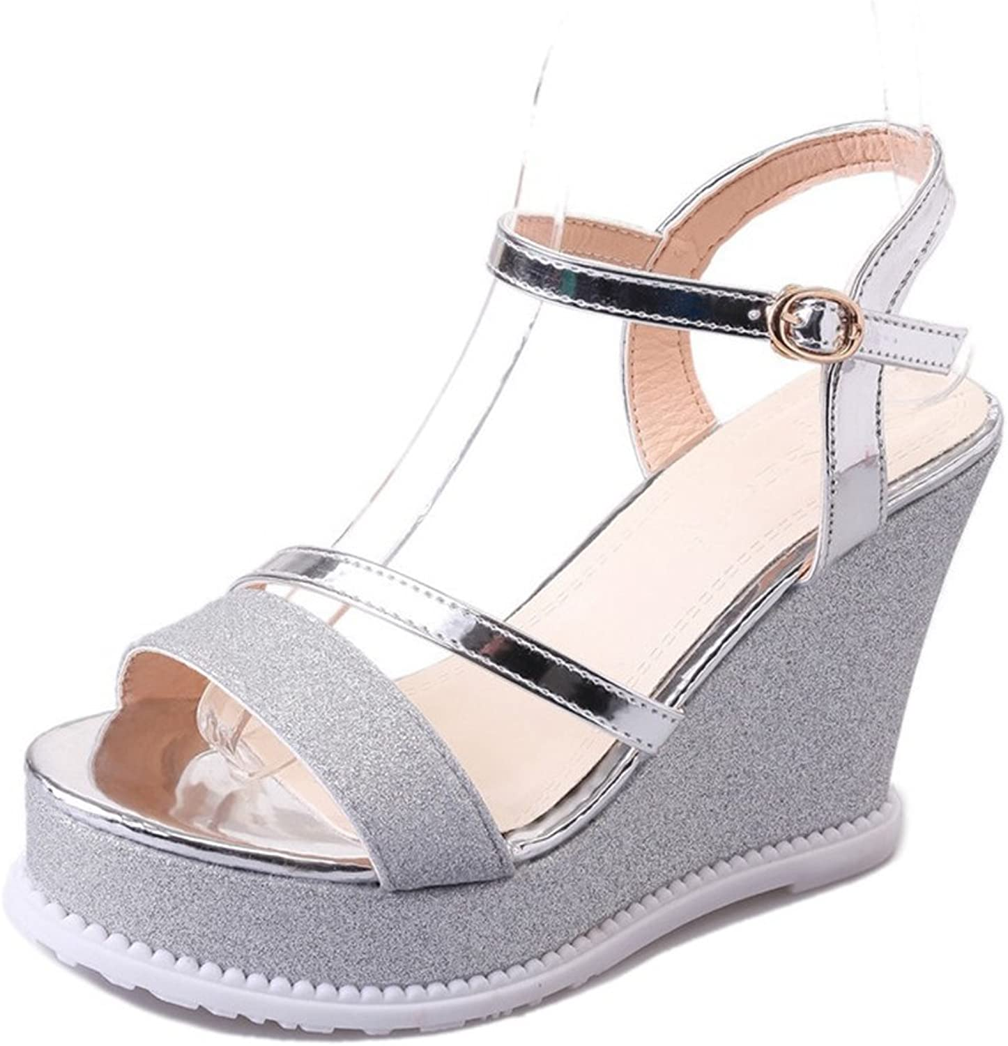 CYBLING Fashion Peep Toe Platform Wedge Sandals for Women High Heel Strappy shoes